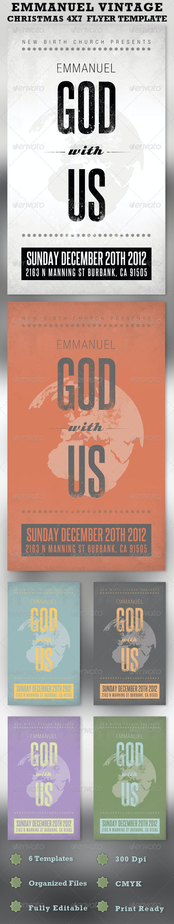 Emmanuel Christmas Church Flyer Template - Church Flyers
