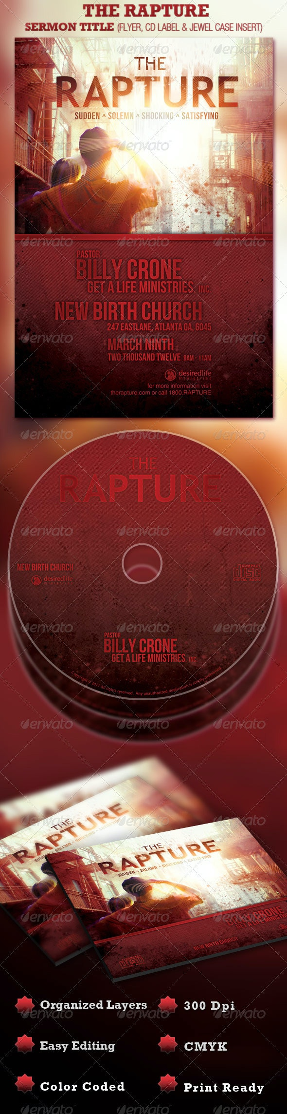 The Rapture Church Flyer and CD Template - Church Flyers