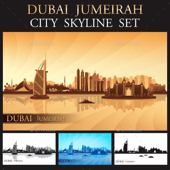 Dubai Jumeirah Skyline Silhouettes Set