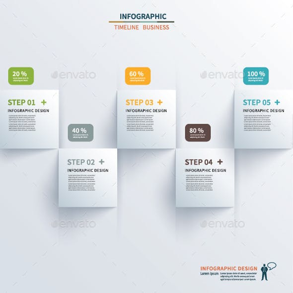 Paper Square Timeline Infographic