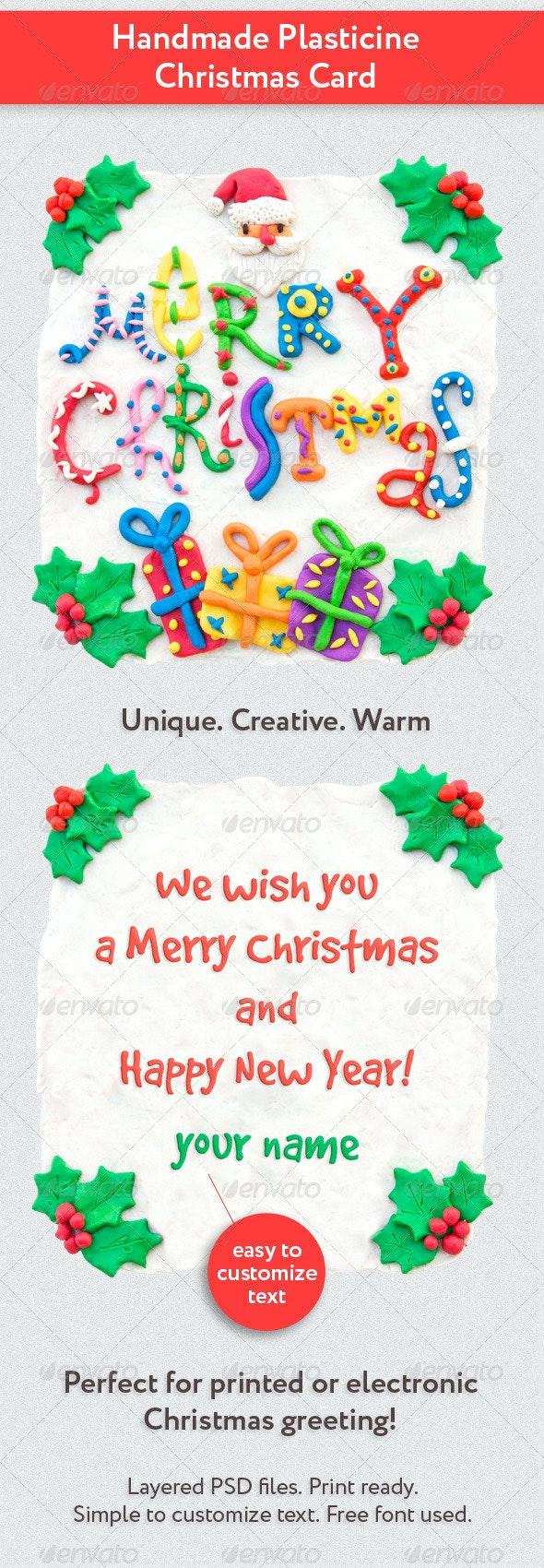 Handmade Plasticine Christmas Card - Holiday Greeting Cards