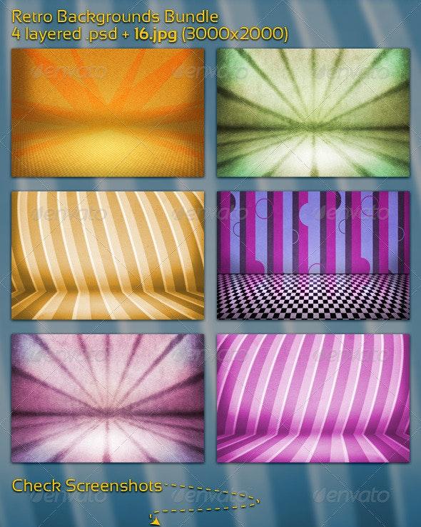 Retro Backgrounds Bundle - 3D Backgrounds
