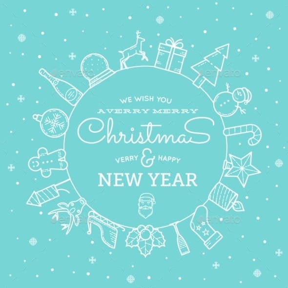 Line Style Christmas and New Year Greeting Banner