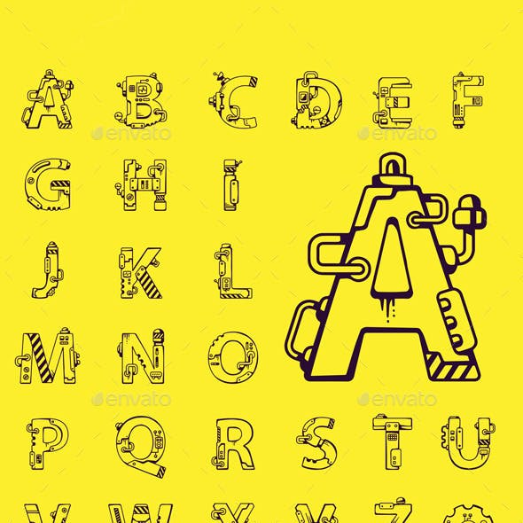 English Alphabet at Mechanical Robot Style