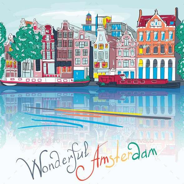 City view of Amsterdam canal Illustration