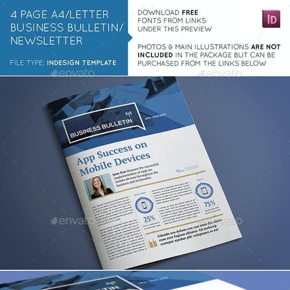 4 Page A4/US Letter Business Bulletin Newsletter