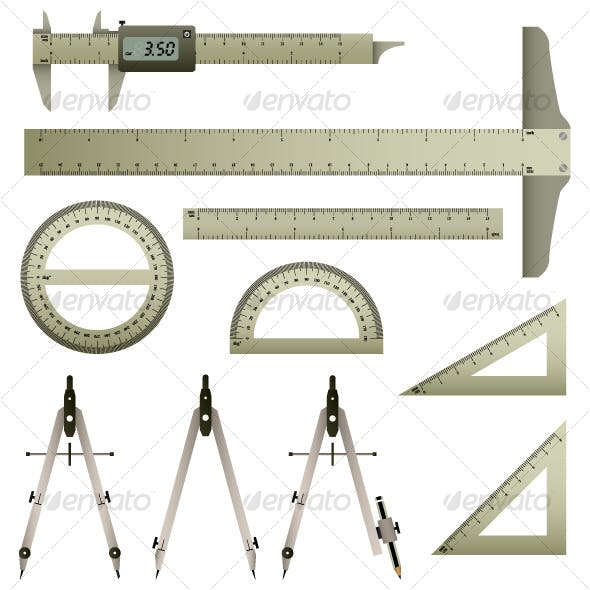 Mathematic Measurement Instrument Set Vector