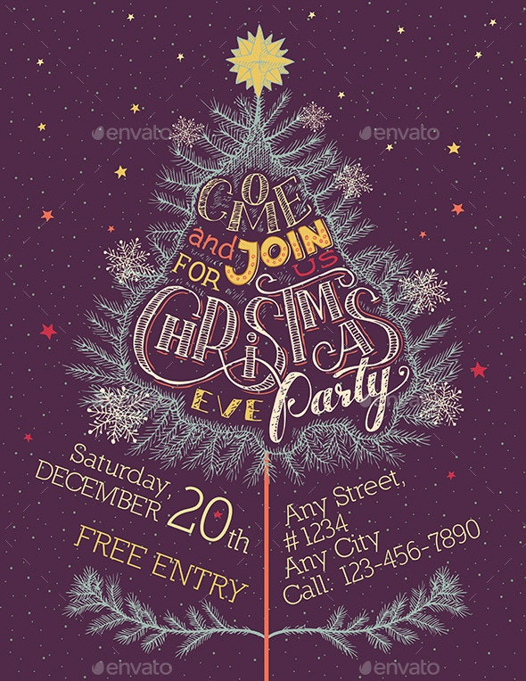 Christmas Eve Party Hand-Lettering - Christmas Seasons/Holidays