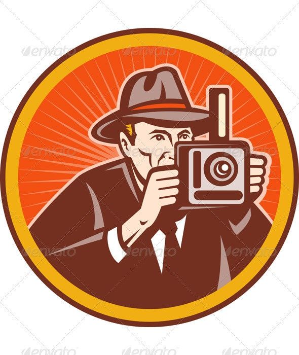 Photographer Shooting Vintage Camera Retro Style - People Characters