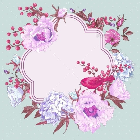 Gentle Spring Floral Bouquet with Birds - Patterns Decorative