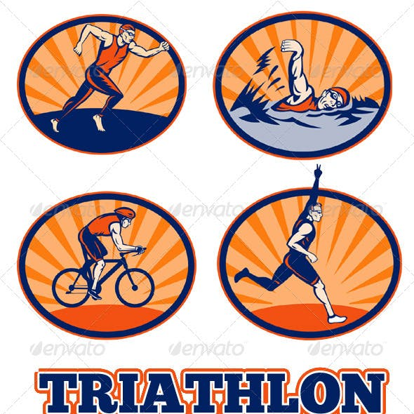 Triathlon Athlete Swim Run Bike Collection Set