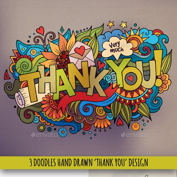 3 Thank You Doodles Designs