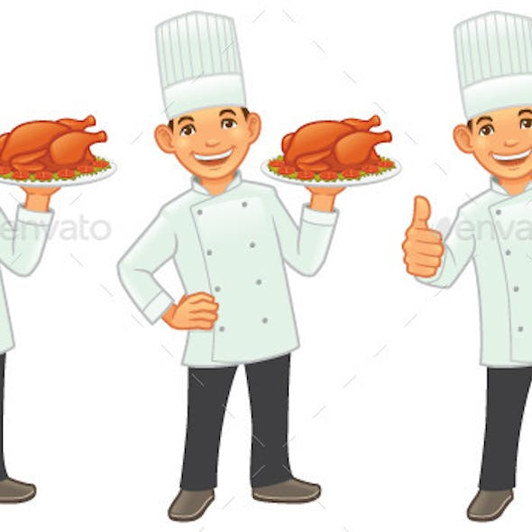 Chef with Roasted Chicken