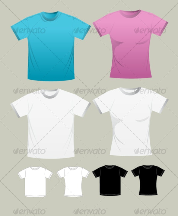T-shirt Template (man and woman) - Miscellaneous Vectors