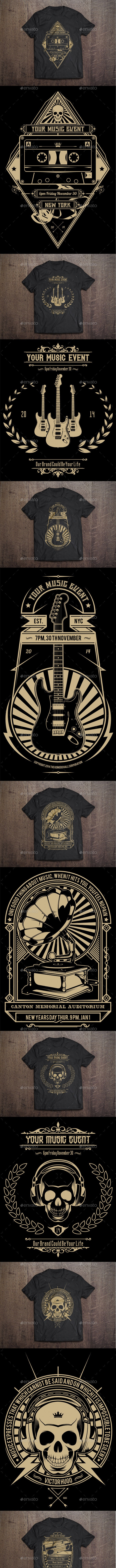 7 T-Shirt Template - Music Theme - Events T-Shirts
