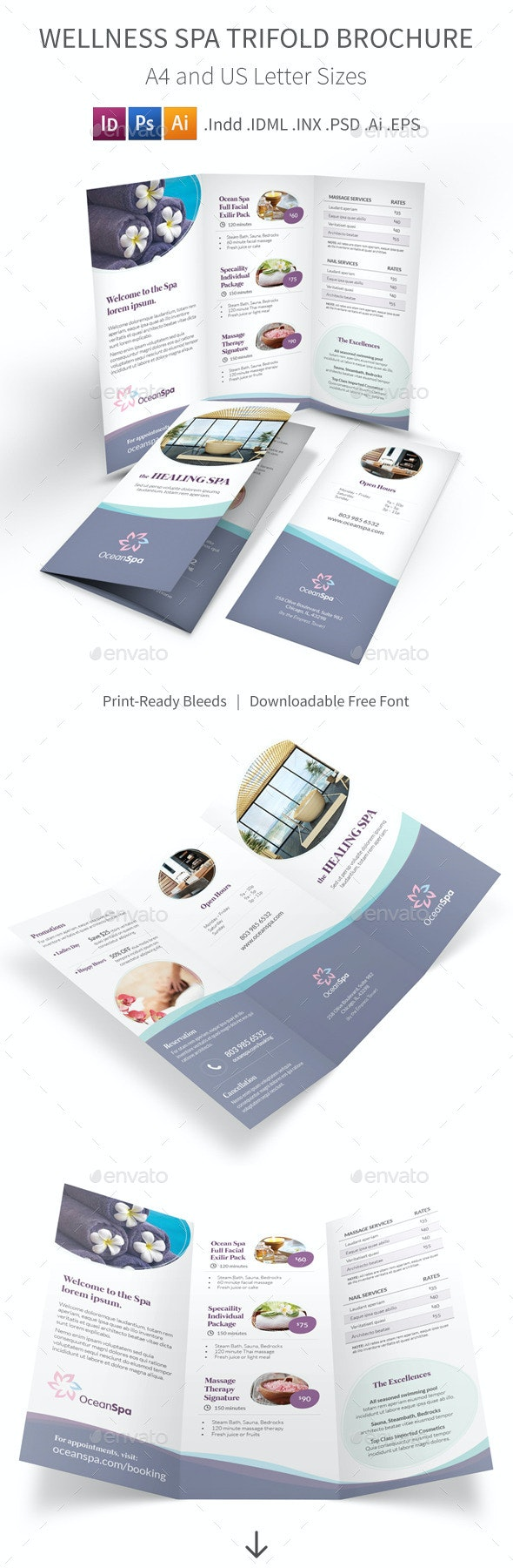 Wellness Spa Trifold Brochure - Informational Brochures