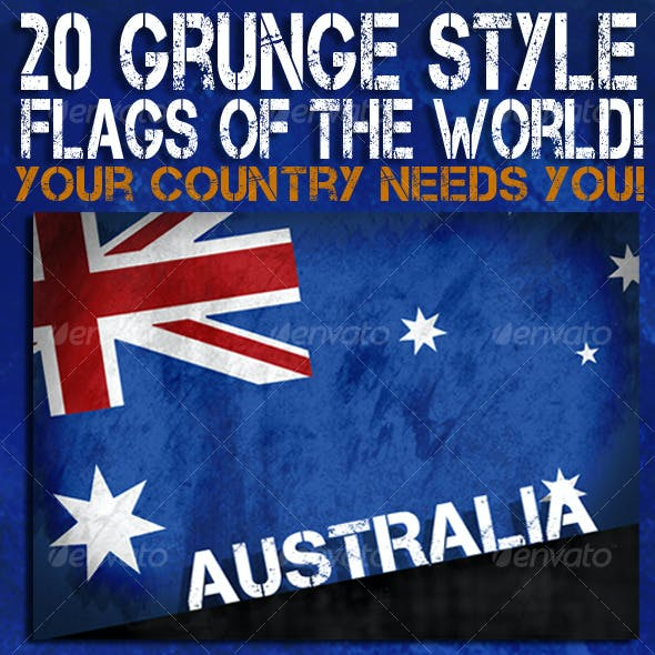 Grunge style Flags of the world
