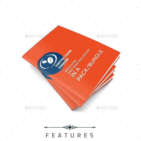 Coffee Shop Brochure with Year End Report Bundle