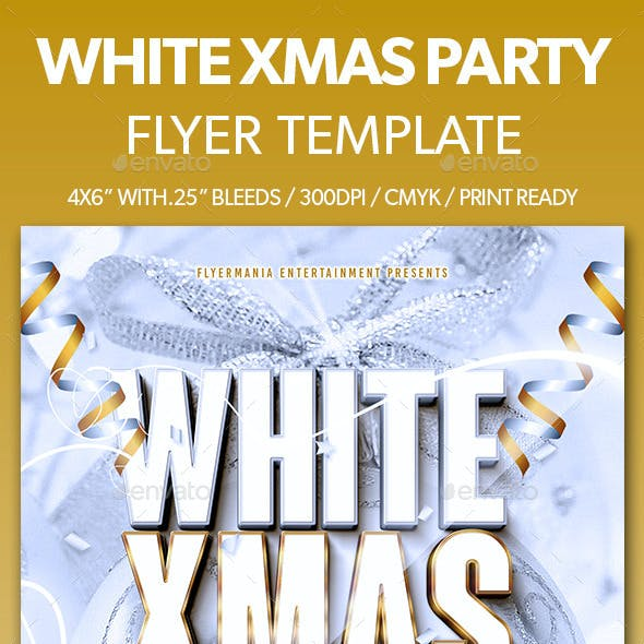 White Xmas Party Flyer Template