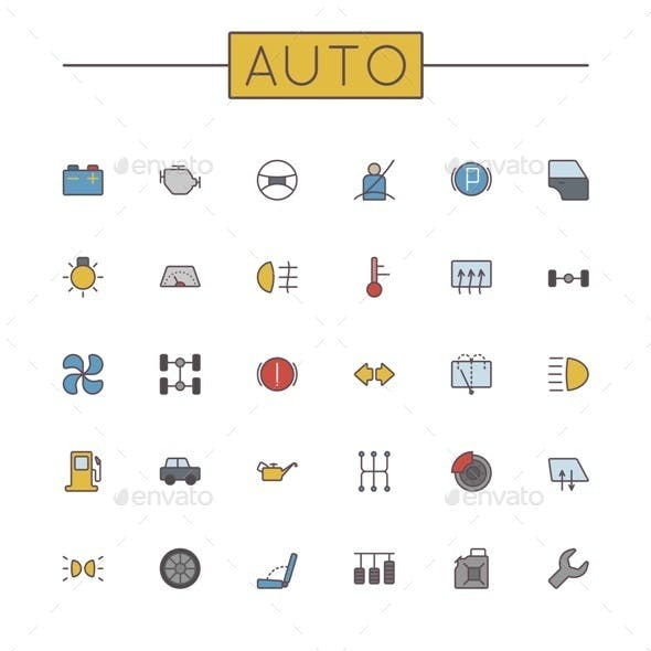 Vector Colored Auto Line Icons