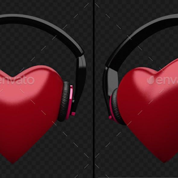 Beating Heart With DJ Headphones