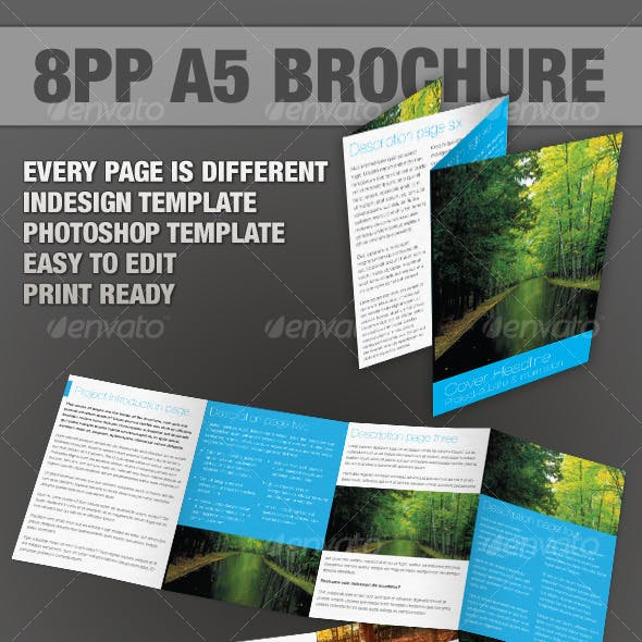 8pp A5 Brochure - InDesign & Photoshop templates
