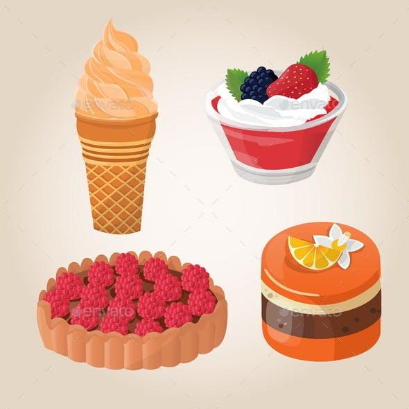 Set of Cakes, Ice Cream, Jelly