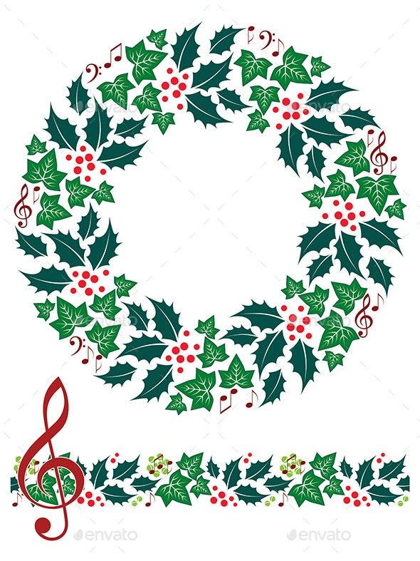 Christmas Music Wreath and Seamless Border - Christmas Seasons/Holidays