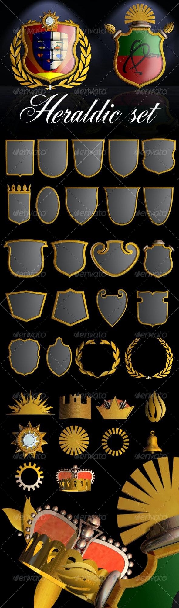 Heraldic Set I - Objects 3D Renders