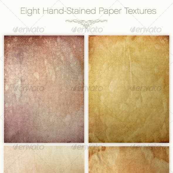 Eight Hand-Stained Paper Textures