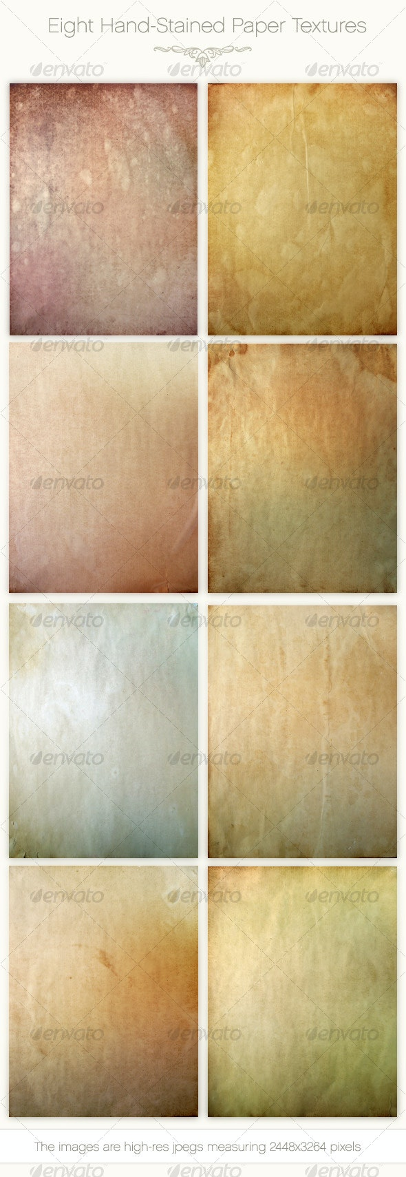 Eight Hand-Stained Paper Textures - Paper Textures