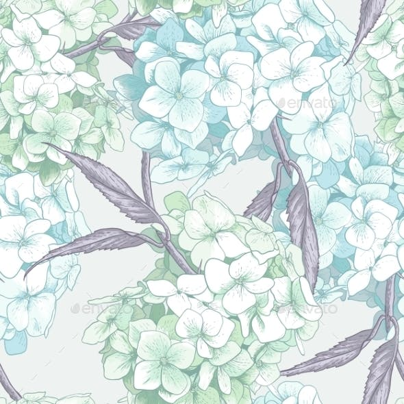 Blue Hydrangea Seamless Background
