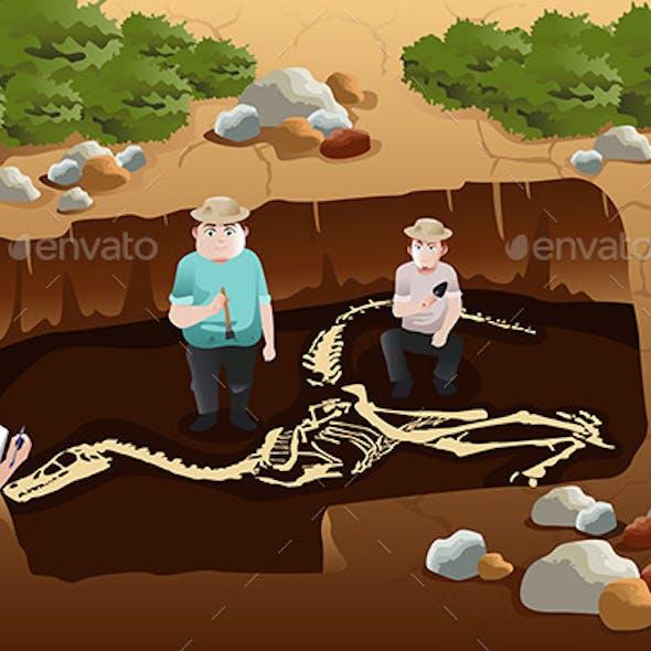 Men Dscovering Dinosaurs Fossils