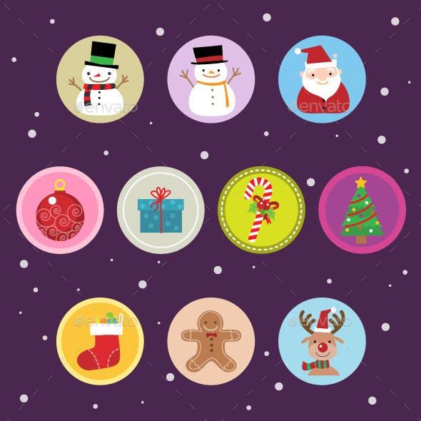 10 Flat Christmas Icons vol 2