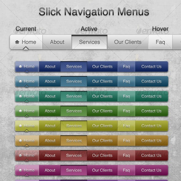 Slick Navigation Menus - 10 Colors