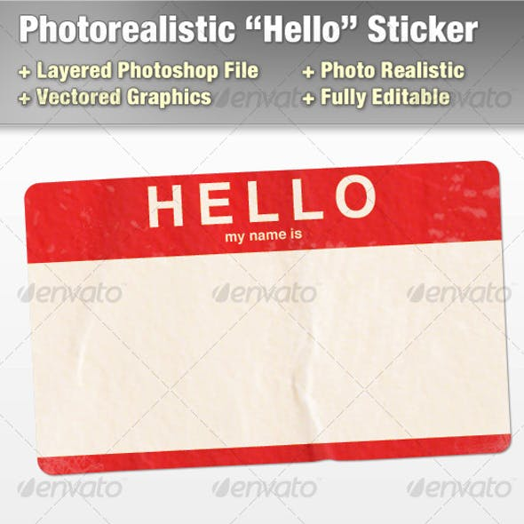 "Layered Photorealistic ""Hello"" Sticker"