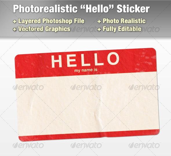 "Layered Photorealistic ""Hello"" Sticker - Objects Illustrations"