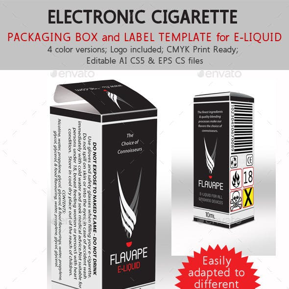 E-Cigarette Liquid Flavor Box and Label