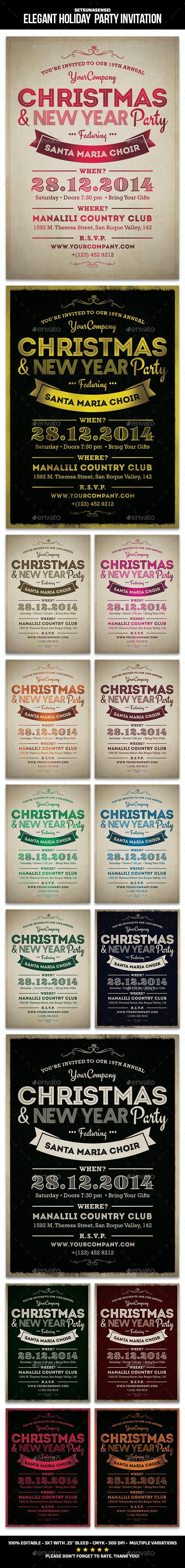 Elegant Holiday Party Invitation - Invitations Cards & Invites