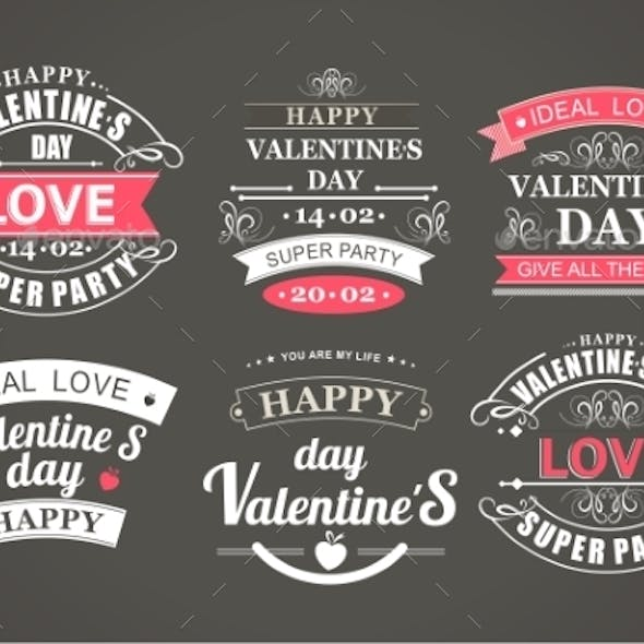 Calligraphic Design Elements Valentines Day