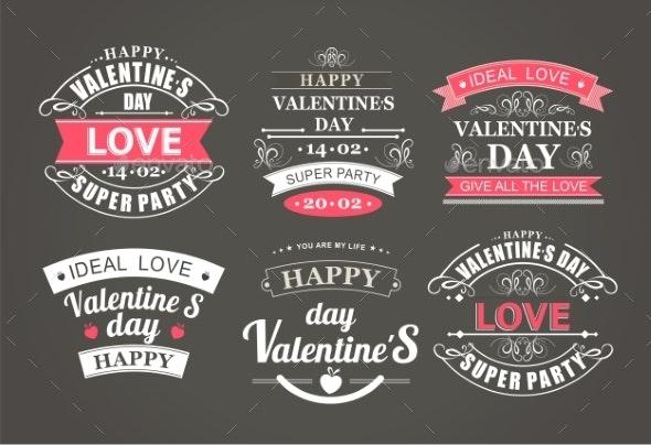 Calligraphic Design Elements Valentines Day - Borders Decorative