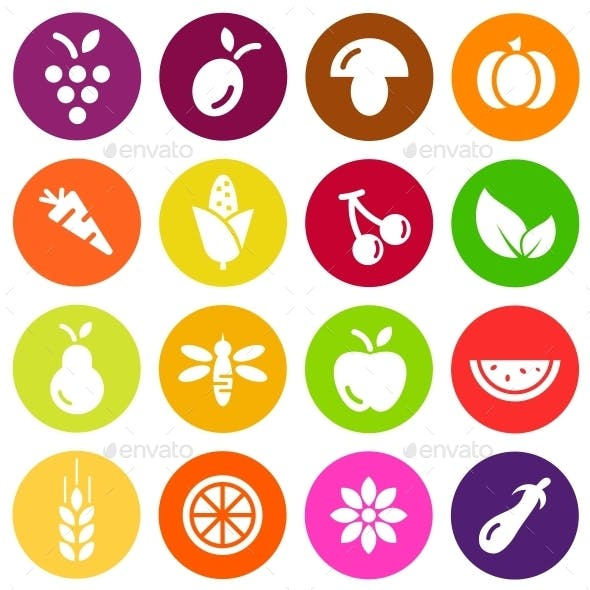 Vegetables and Fruits Vector Flat Icons