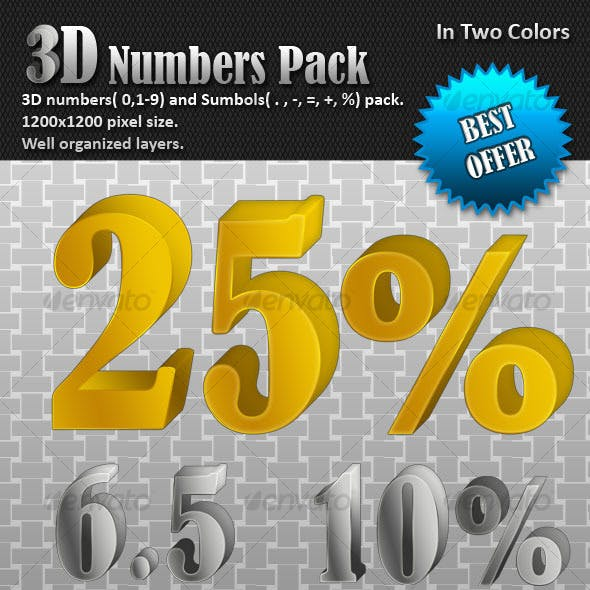 3D Numbers pack