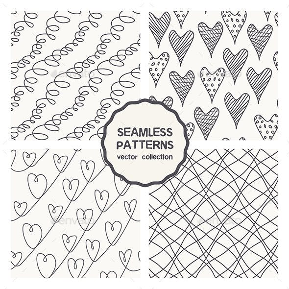 Vector Set of Four Linear Doodle Seamless Patterns