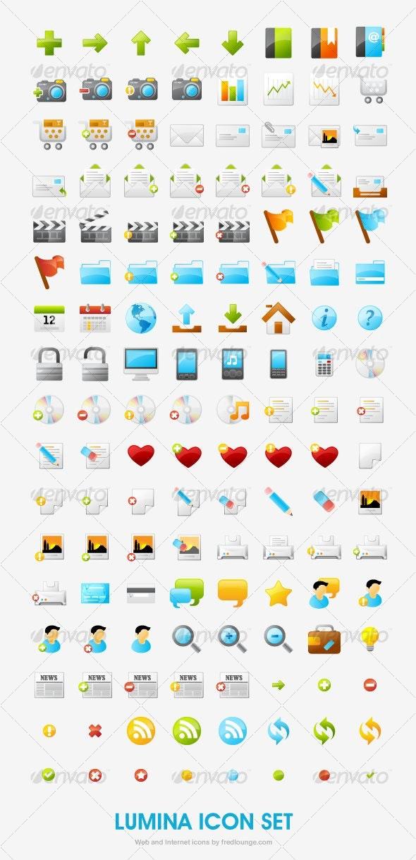 Lumina - 136 soft and glossy icon set - Web Icons