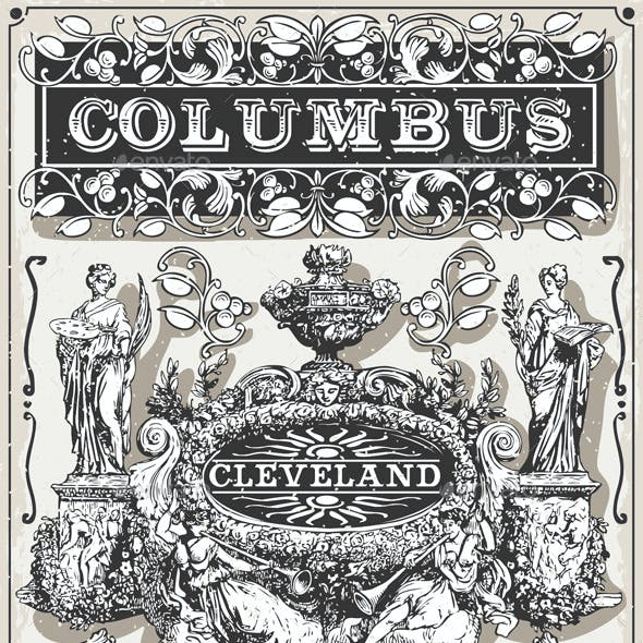 Vintage Page Ohio Columbus Banners and Labels