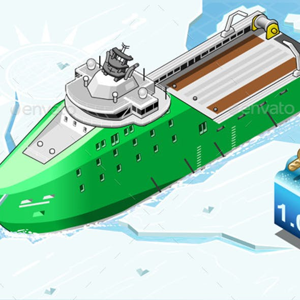 Isometric Icebreaker Ship Breaking in Front View