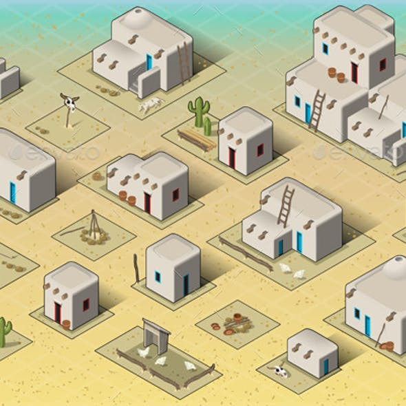Isometric Western Rural Pueblo Basic Set Tiles