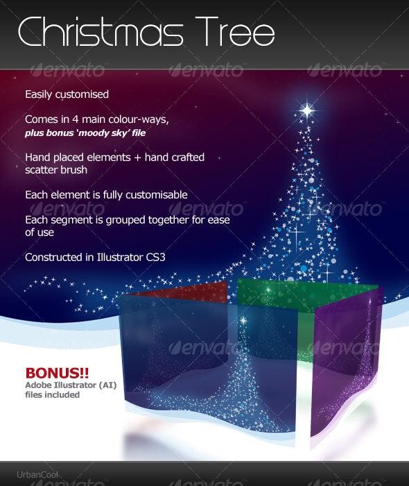Christmas Tree Landscape - Backgrounds Decorative