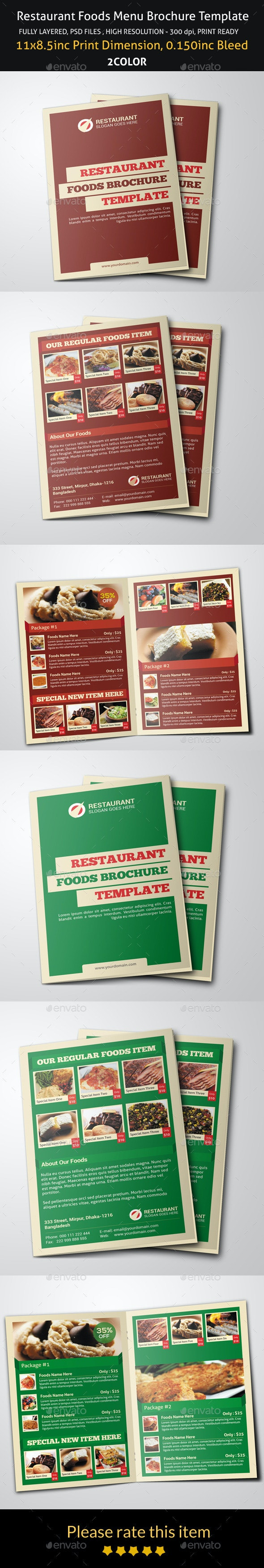 Restaurant Foods Menu Brochure Template - Brochures Print Templates